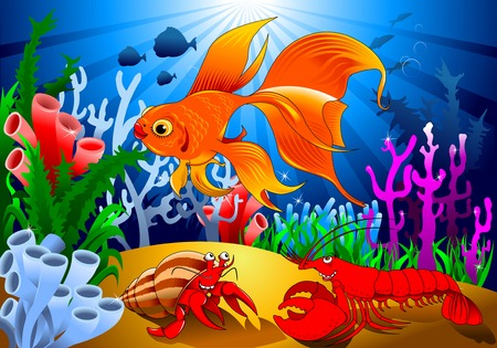 vesicle: crab and goldfish in a beautiful coral reef, vector