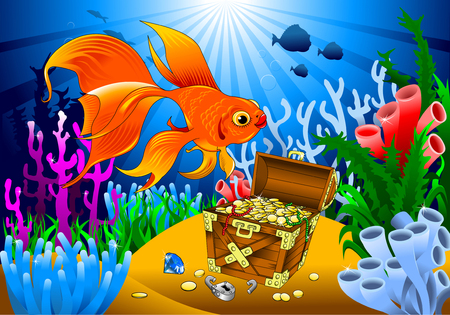 goldfish has found the treasure on the seabed, vector