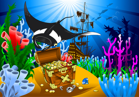 stingray: stingray has found the treasure on the seabed, vector