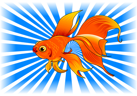 vesicle: gold fish with bubbles isolated on transparent background Illustration