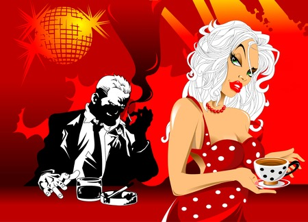 patron: beautiful waitress serving customers in a nightclub, vector