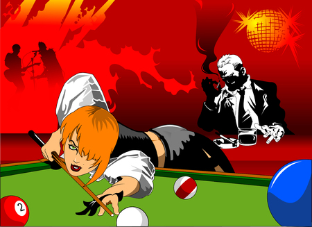 sexy young woman: woman in black shorts and black top playing billiards Illustration