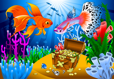 guppies: goldfish and guppies find pirate treasure on the sea bed