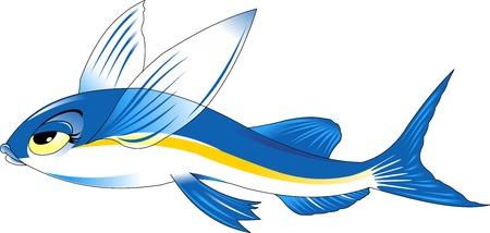 personnage volant de bande dessinée de poissons de haute qualité comprennent design plat