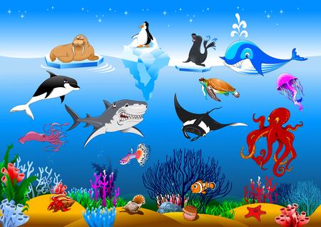 ベクトルのかわいい漫画の異なる魚分離セット