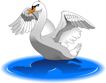 squeak: Cartoon beauty swan floats on water, vector and illustration