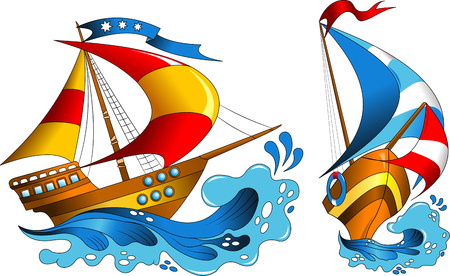 keel: Two small pleasure yachts with colorful sails, vector