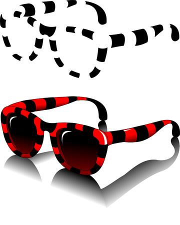eyewear fashion: Black sunglasses side view on a white background