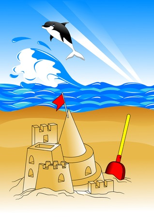 beach with childrens toys and sandcastles. vector illustration