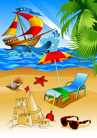Summer beach with palms and chaise lounge. Vector background Illustration