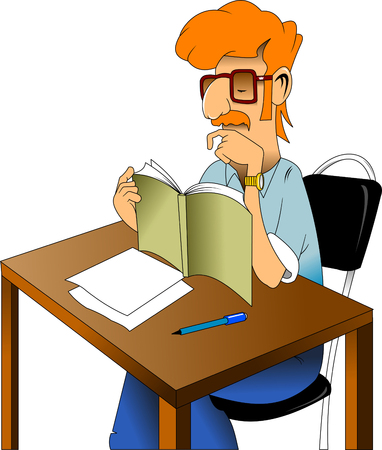 man with a red mustache sitting at a table and reading a book Illustration