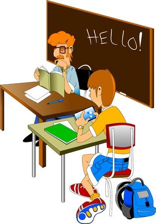 niños estudiando: El profesor lee el libro de texto. Estudiante para resolver un problema de matemáticas Vectores