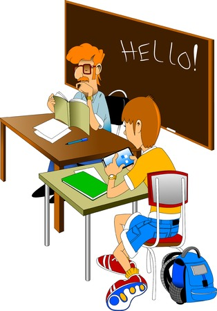 children studying: The teacher reads the textbook. Student solving a math problem