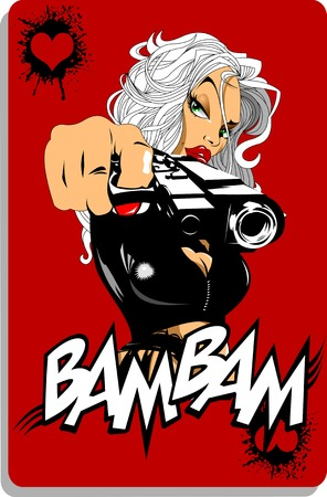 銃で黒のショート パンツで美しい少女ベクトルします。