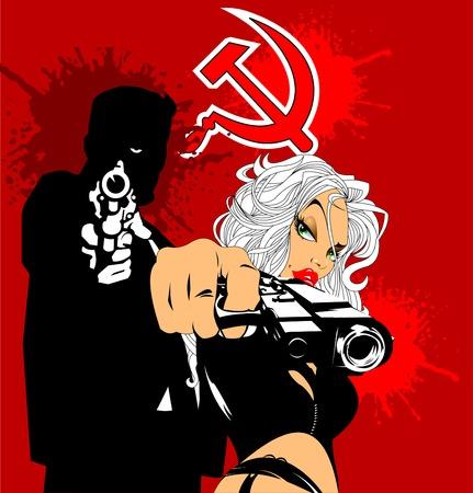 Paar Spione, ein Mann und eine Frau mit Pistole, Vektor Standard-Bild - 72896460