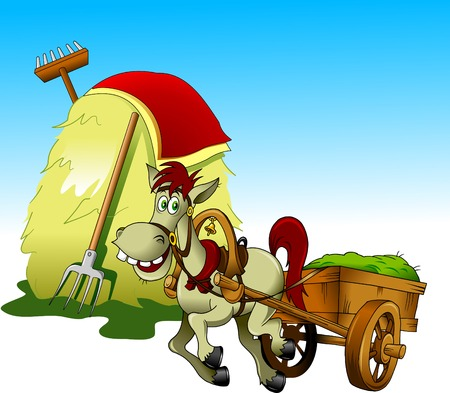 carries: horse carries a cart with grass past a haystack