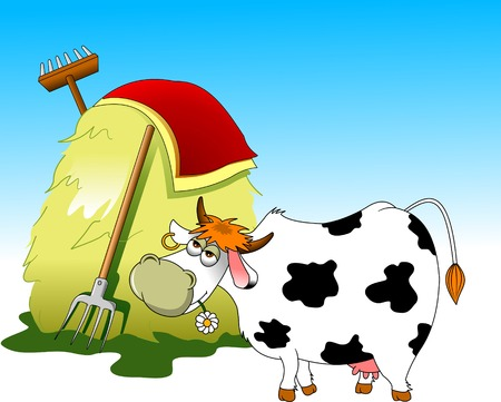 ground beef: Cow and a pile of haystack near the wooden fence on a white background