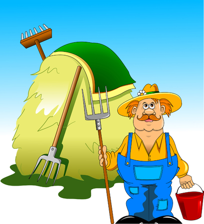 Illustration of a farmer with a pitchfork in his hand against the background of haystacks Illustration