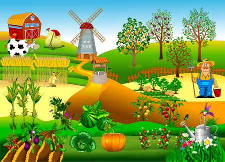 Big farm with a windmill and a fruit garden, vector