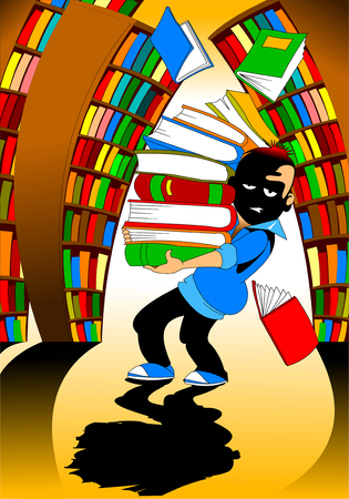 portrait of young student with glasses holding stack of books in library
