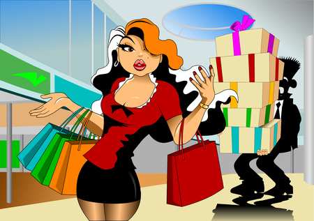 attractive girl: Beautiful young women with shopping bags