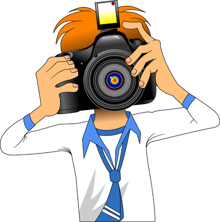 Color cartoon image of photographer isolated on white, vector and illustration Illustration
