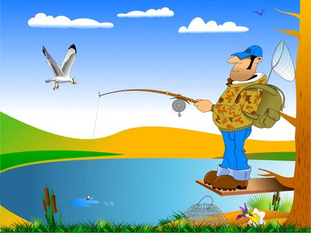 Cartoon fisherman with rod and fish illustration, vector