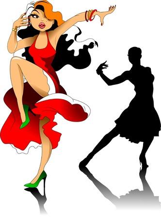 cartoon of a beautiful woman dancing tango on a dance floor, vector