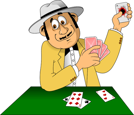 Illustration of a man with hat playing with cards, vector Illustration