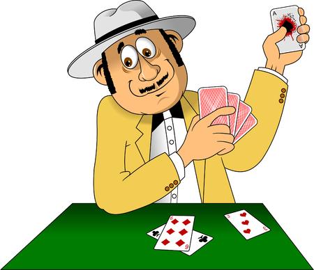 Illustrazione di un uomo con il cappello che gioca con le carte, vettore Vettoriali