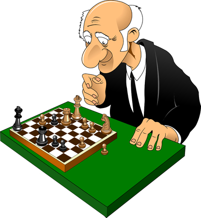 old man play chess Caricature of a complex combination 向量圖像