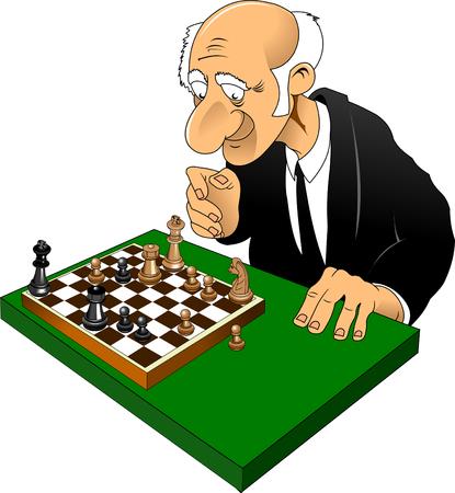 oude man schaken karikatuur van een complexe combinatie