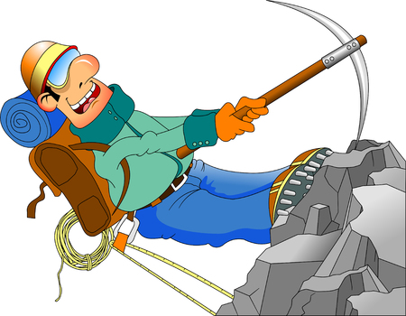 mountaineering: Cheerful climber conquers a high mountain, vector and illustration