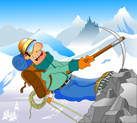 Cheerful climber conquers a high mountain, vector and illustration
