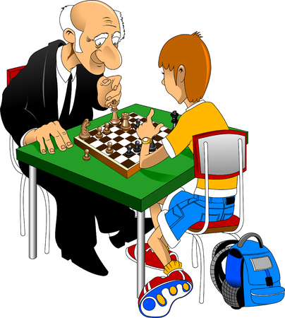 combination: old man play chess Caricature of a complex combination Illustration