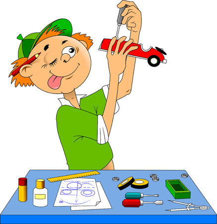 Little boy makes a model of a sports car, vector