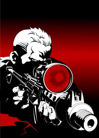戦闘位置での狙撃ライフルで武装した男  イラスト・ベクター素材