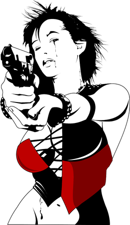 Beautiful woman in black suits with a weapon, vector and illustration