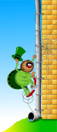 crawly: Cheerful spider in a green suit and hat rises on the wall Illustration