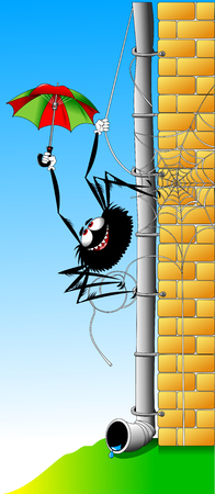 Cheerful spider in a green suit and hat rises on the wall Illustration