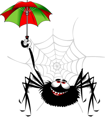 Cheerful black spider playing with colored umbrella, vector and illustration Illustration