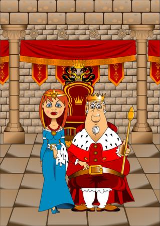 Koning en Koningin in de Grote Troonkamer, illustratie Stock Illustratie