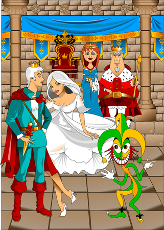 King and Queen in the Great Throne Room, illustration Illustration
