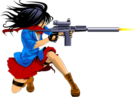 A woman armed with a sniper rifle in a combat position
