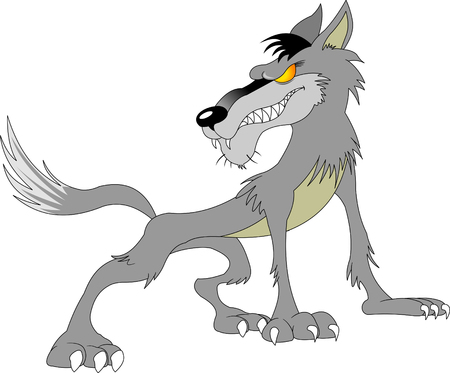 Wild danger grey wolf in cartoon style isolated on white Illustration