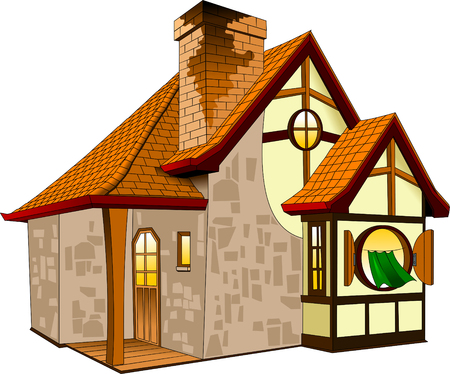Little fairytale house with a tiled roof house, illustration Иллюстрация