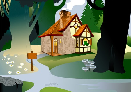 Little fairytale house with a tiled roof house, illustration Illustration