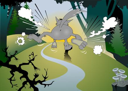Wild danger grey wolf in cartoon style.