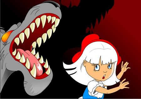 Evil and terrible wolf attacked a little girl, illustration