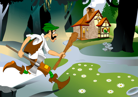 Cartoon grim and serious woodcutter with an ax in the forest